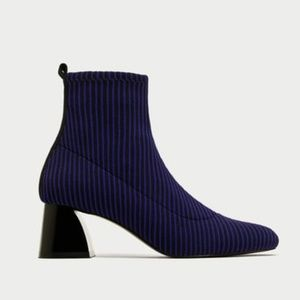 Zara Electric Blue Stripe Ankle Boots
